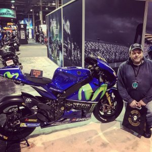 ME and a MotoGP bike at the 2018 Progressive Motorcycle show in Chicago.